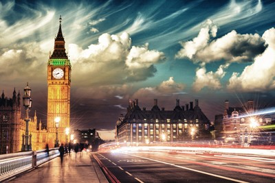 Long exposure shot of London highway with Big Ben in the background